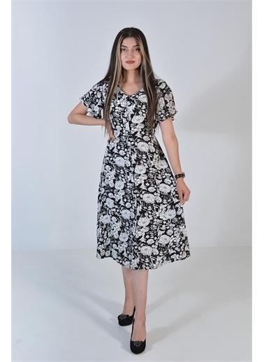 Zeren Kadın Ekru Çiçek Desenli Elbise Ekru